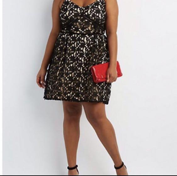 Clearance! Bn Charlotte Russe black lace dress plus size, Women\'s ...
