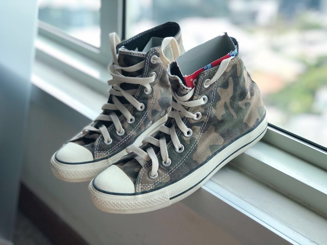 ef3c7038a5c246 Converse army green print high cut sneakers womens fashion shoes sneakers  on carousell jpg 1080x810 Army