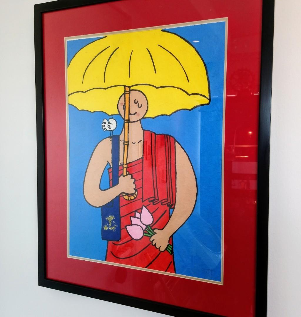 Famous Cambodia STEF Happy Painting of happy monk with yellow umbrella (with glass and wooden frame)