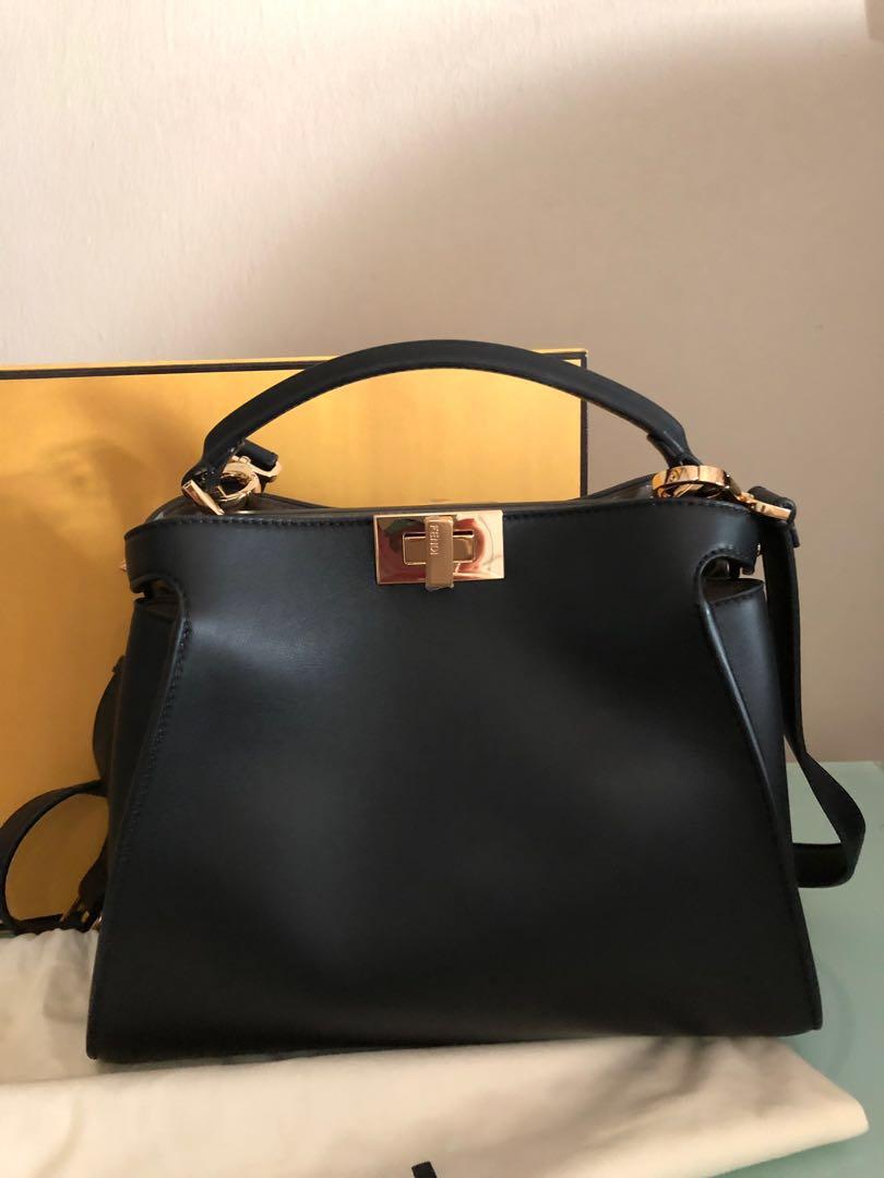 85a5b308e2c5 FENDI Black leather Peekaboo Essentially bag, Women's Fashion, Bags &  Wallets, Handbags on Carousell