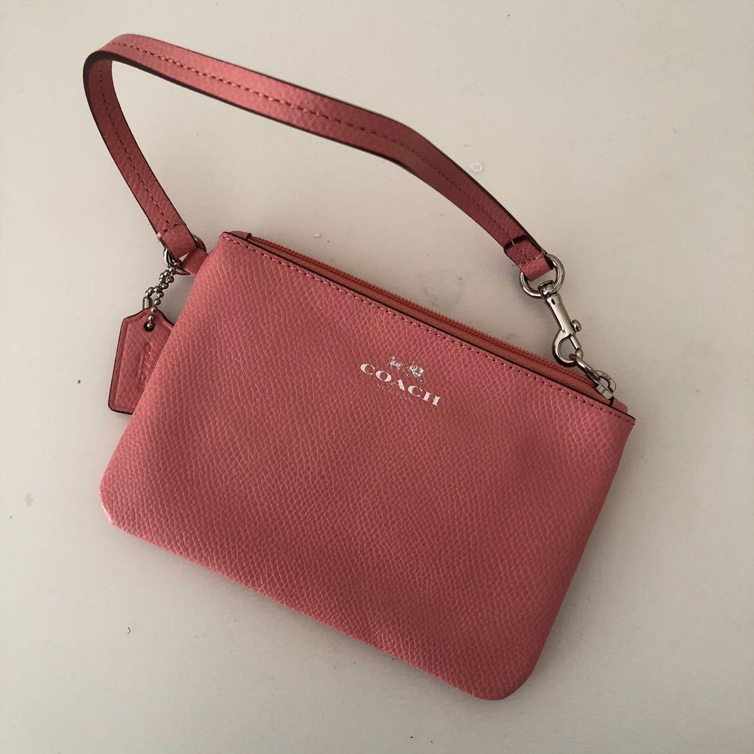 Genuine Coach Pink Leather Bag Wristlet