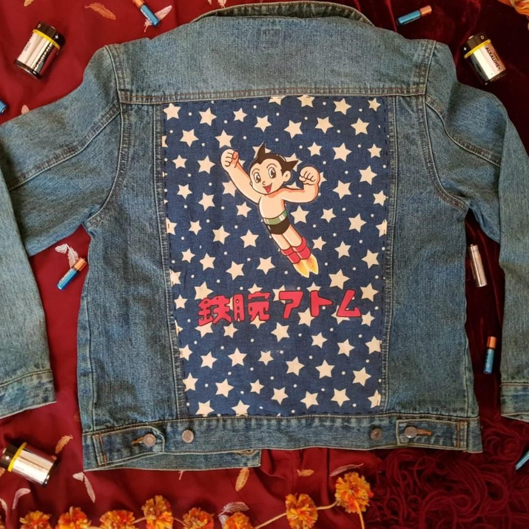 Hand-Dyed and Painted Astro Boy Themed Denim Jacket Size 10