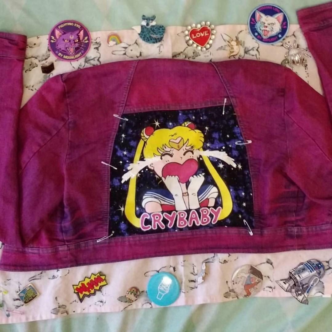 Hand-Dyed and Painted Sailor Moon Usagi Themed Bolero Denim Jacket Sz 10