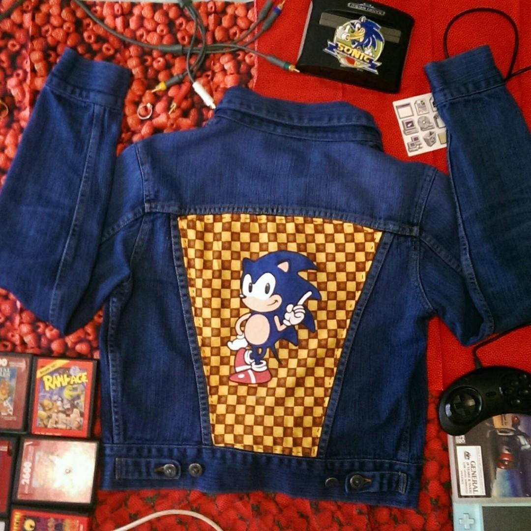 Hand-Dyed and Painted Sonic the Hedgehog Themed Denim Jacket Size 10