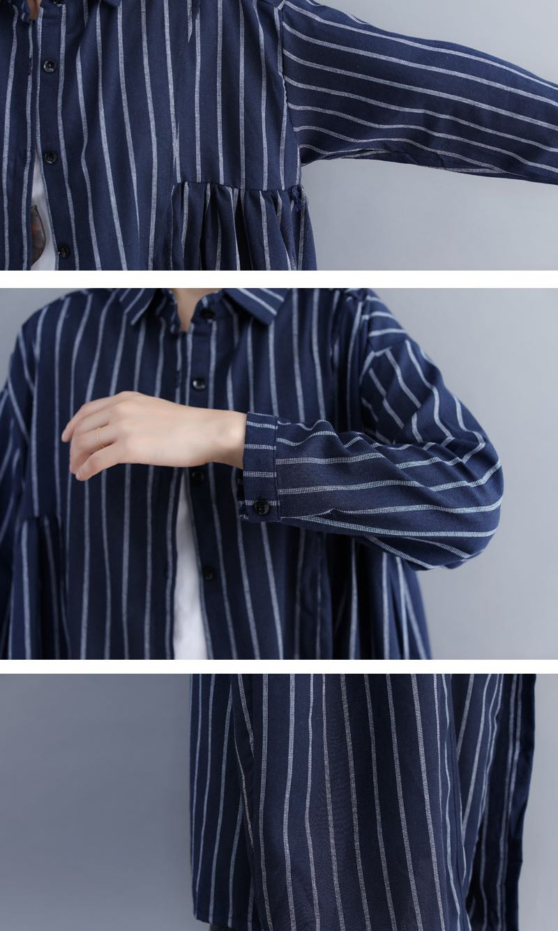 7b22782a1f5 Plus Size cotton and linen loose striped shirt long dress