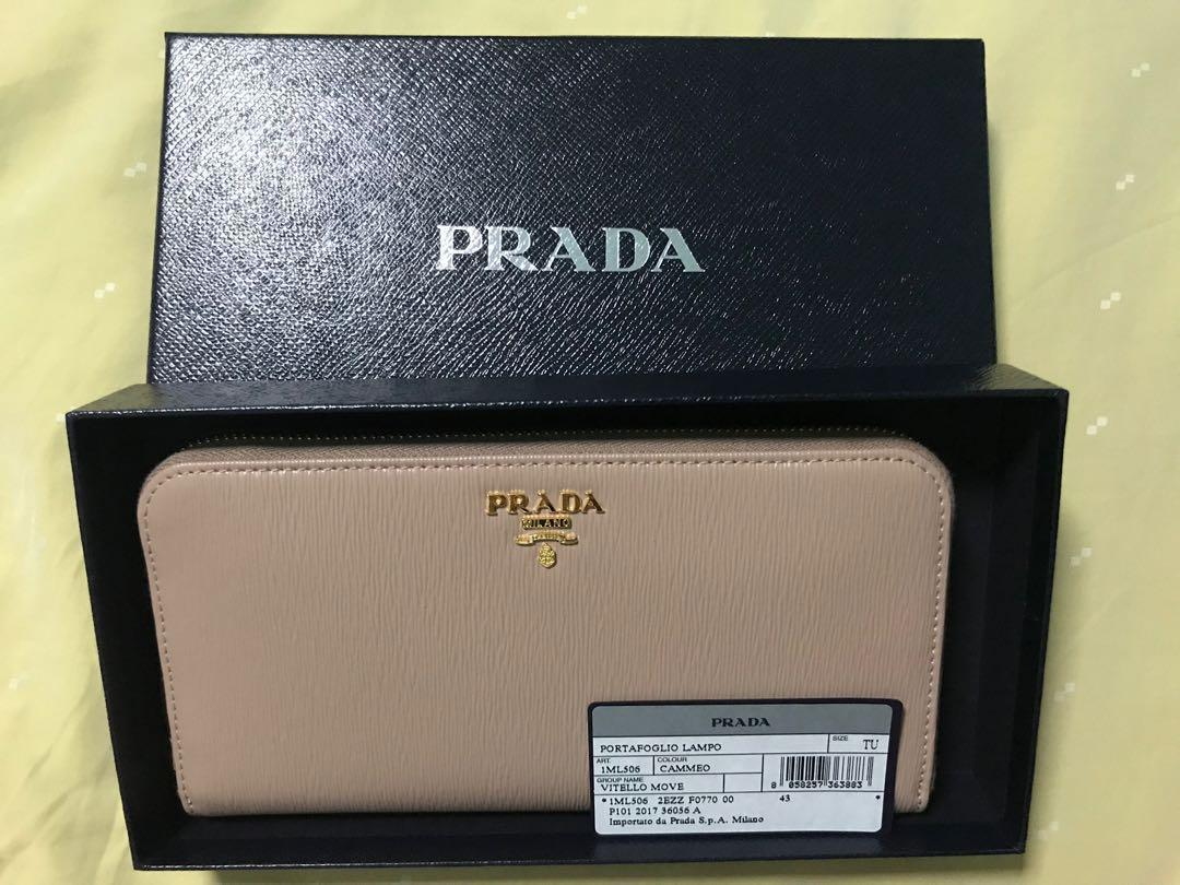 outlet store 1e9a0 b562c Prada 1ML506 Saffiano Leather Zip Around Long Wallet, Luxury ...