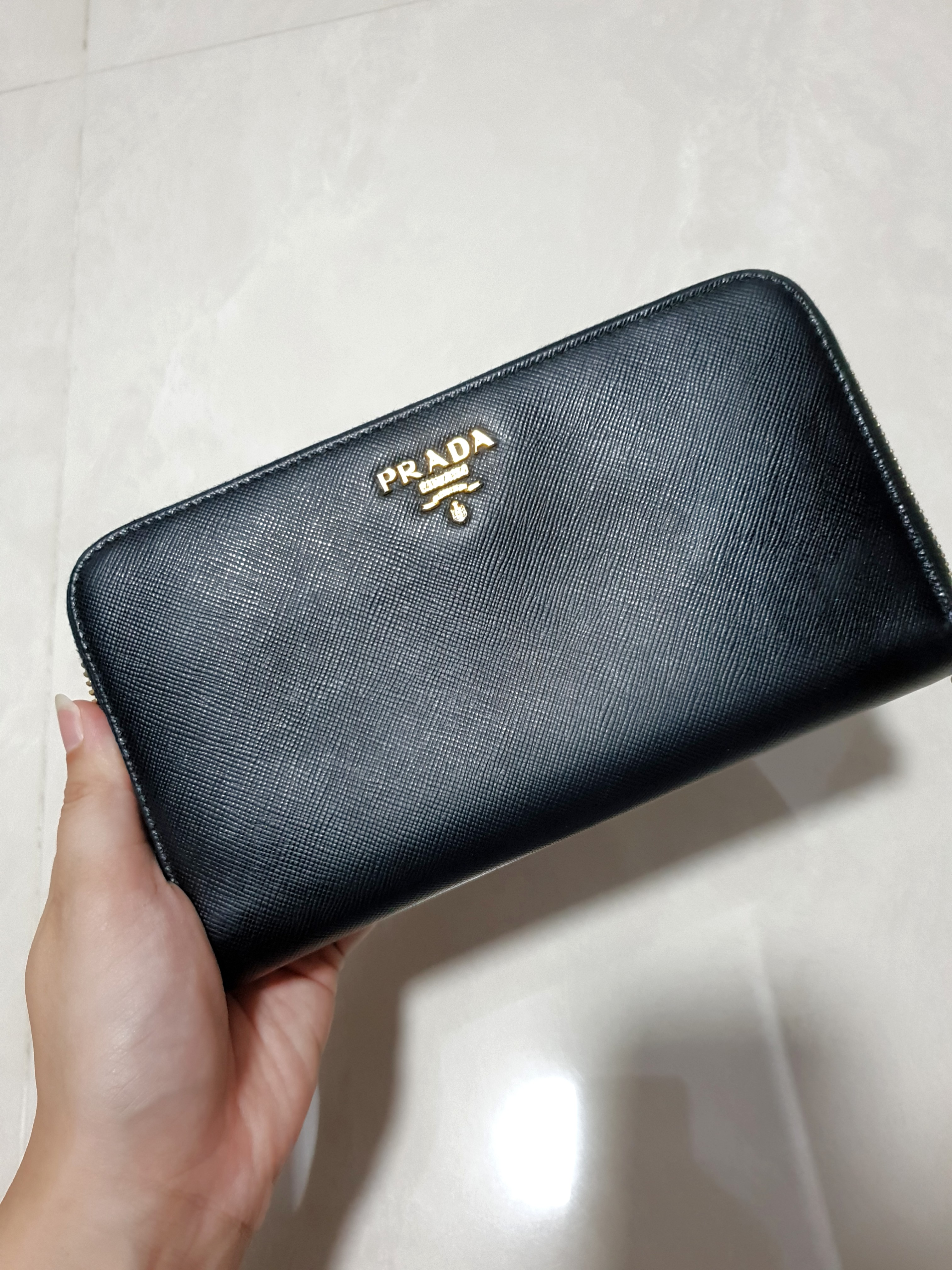 fb1adcc66329 Prada saffiano leather long wallet genuine, Luxury, Bags & Wallets ...