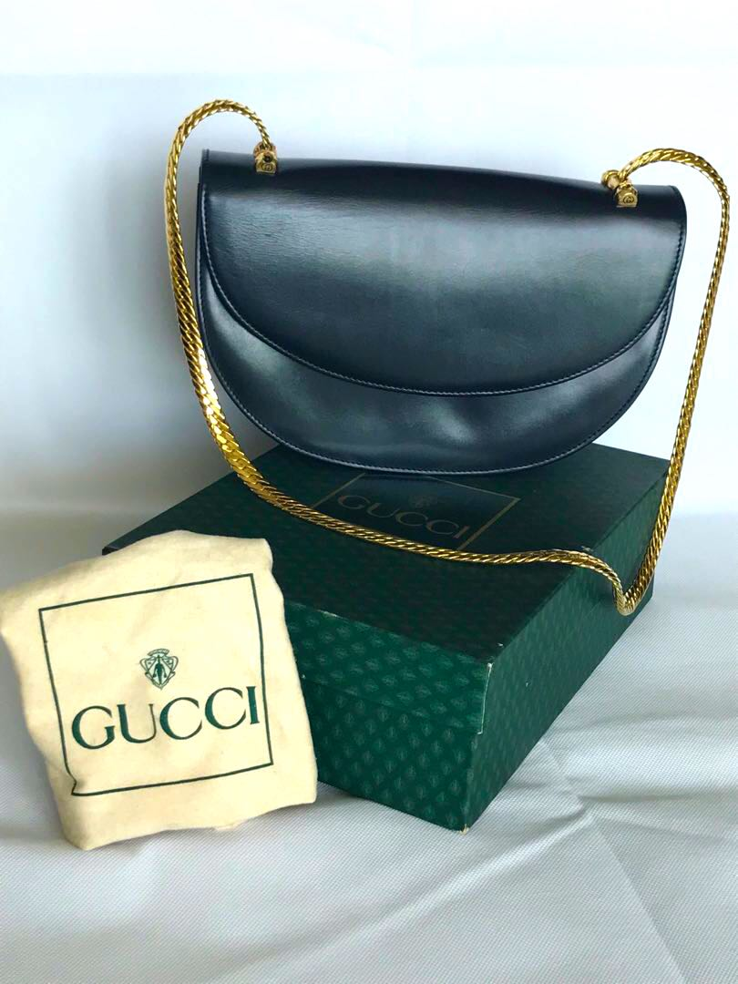 632b3d8c41 Rare vintage Gucci midnight blue leather shoulder bag with gold ...