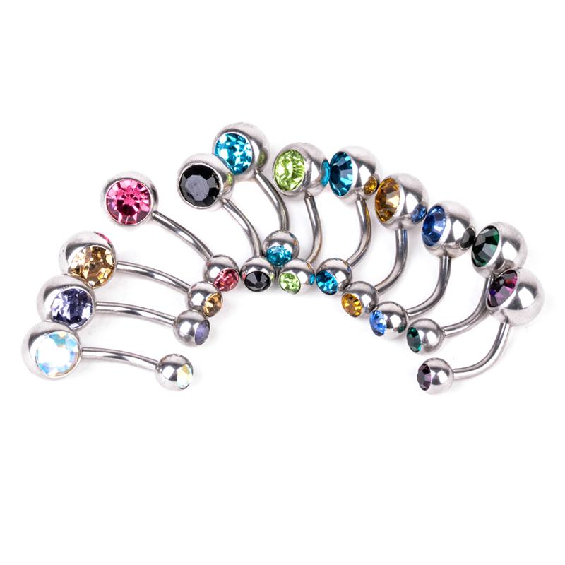 Surgical Steel Belly Button Rings Navel Dangle Bar Body Piercing Barbell $3 Buy 2 get 1 Free