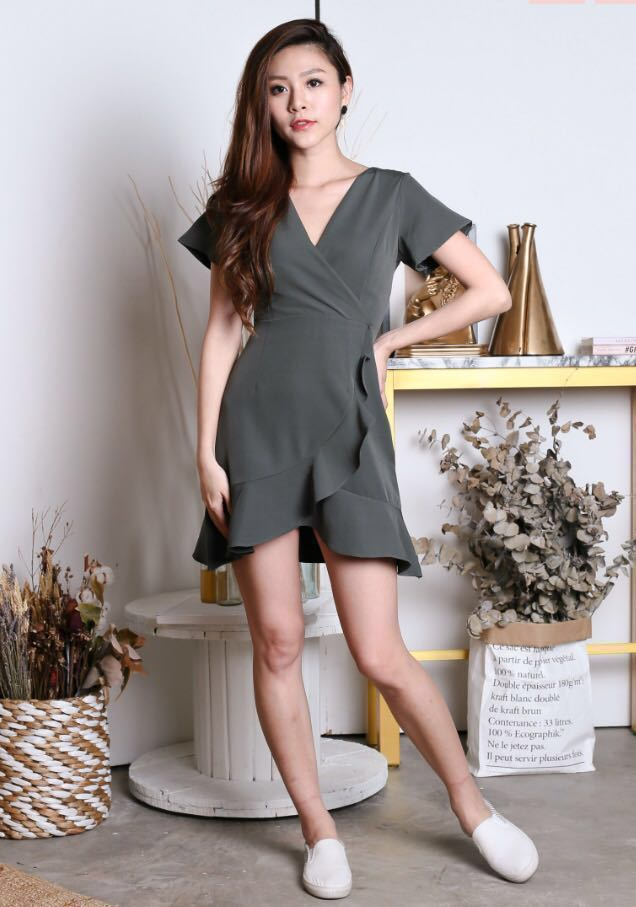 18b85b7675f9 Topazette Dawn Wrap Dress in greyish green