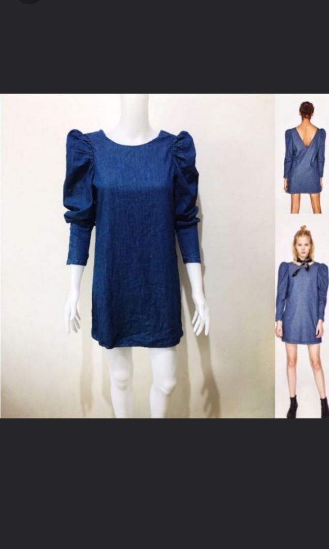 3b9363025d9 SOLD AS FREEBIE Zara puff sleeves mini denim dress