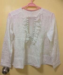 White Lace Long Sleeves Blouse (20% off)