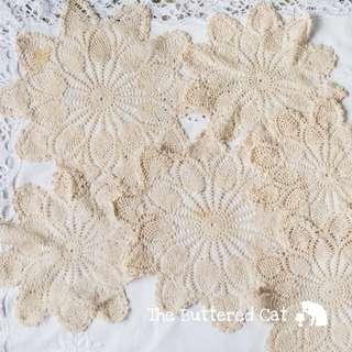 SIX vintage crochet doilies