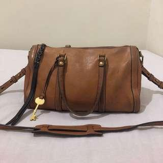 Fossil kendall satchel brown small