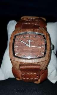 Fossil limited wooden leather watch excellent condition