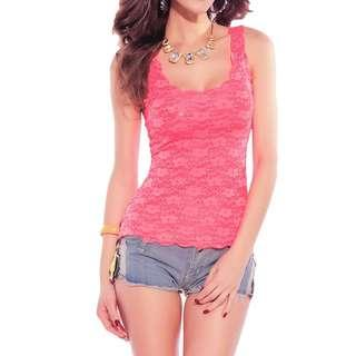 Pink Lace Top XS