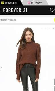 🚚 Bn Forever 21 F21 Brown Brushed Cut Out Back Knit Oversized Sweater