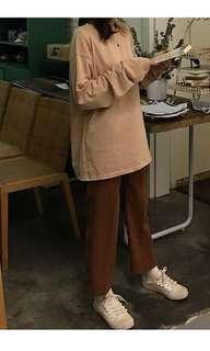 🚚 (任選3件350)奶茶色打底衫 寬鬆素色長袖