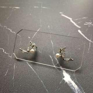 包平郵 耳環 珍珠枝節款 金色 韓國購入