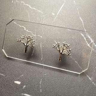 包平郵 耳環 閃石樹款 銀色 韓國購入