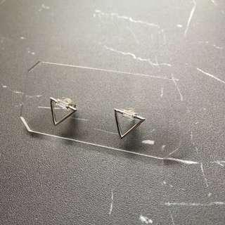包平郵 耳環 三角框閃石款 銀色 韓國購入
