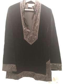 Tory Burch Black Velvet Sequin Tunic - Size 12