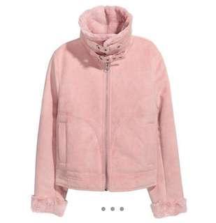 H&M Pink Suede Flight Jacket