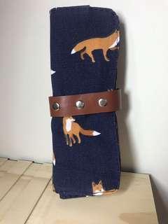 🚚 小狐狸 深藍色文青筆袋