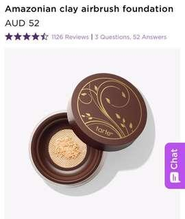 BRAND NEW RRP$52 Tarte Cosmetics Amazonian Clay Full Coverage Airbrush Foundation in Light Beige