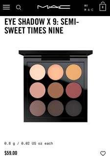 BRAND NEW RRP$59 MAC Cosmetics Eyeshadow Semi Sweet Times Nine Palette