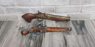 2 old pistol replica for display props wall pirate caribbean