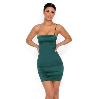 Oh Polly Satin Emerald Mini Dress