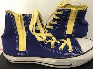 Blue and Yellow Laces High Top Converse Shoes