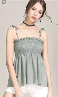 Scrunched ruffled army green ribbon tie knitted tank top