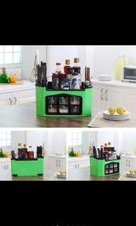 Kitchen Spice Jars Condiment Utensil Organizer Storage Holder Shelf