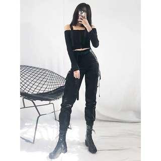🚚 黑色高腰束口工作褲