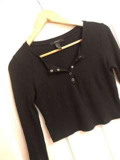 Ribbed button up crop top