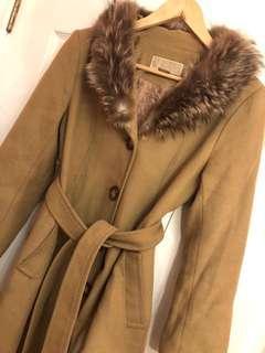 Michael Kors wool jacket real fur trim