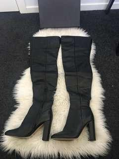 TONY BIANCO Bono Thigh High Boots Black Leather AU8 RRP$419.95