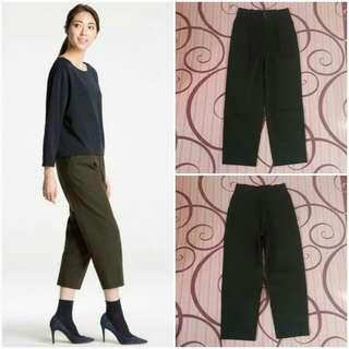 UNIQLO Cotton Wide Leg Tapered Ankle Length Pants (Olive S)