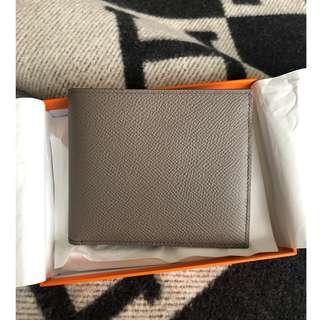 BRAND NEW Hermes Men's wallet epsom leather Etain color