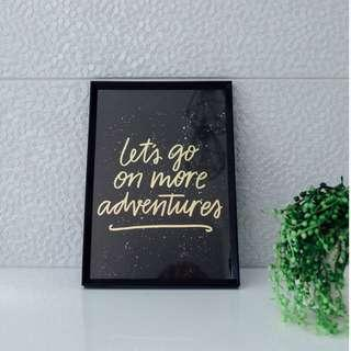 "A4 gold foil print - ""Let's go on more adventures"""