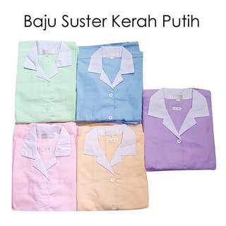 Baju suster XL pink kerah putih