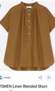 Uniqlo Linen Blend Short Sleeve Brown Blouse Top