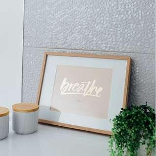 "A4 gold foil print - ""Breathe"""