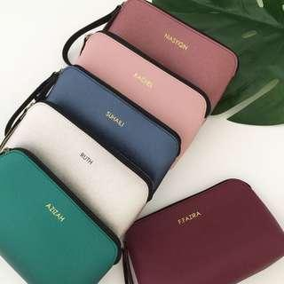 Minimalist style personalised makeup pouch makeup bag cosmetic pouch personalised gift wedding bridesmaid gift Valentine day gift bridal party favours