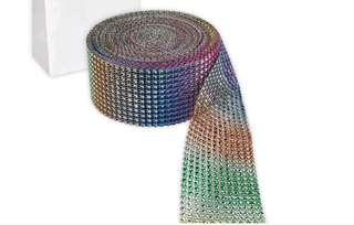 🚚 Rainbow Rhinestone Mesh Ribbon Trim - 1 roll