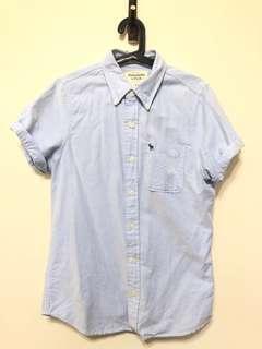 🚚 A&F 短袖襯衫 水藍