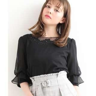 MAJESTIC LEGON 薄紗五分袖花領上衣 黑色