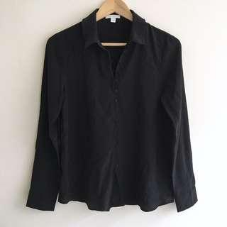 Kookai Black Silk Button up Shirt